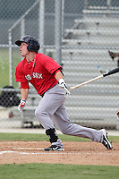 Boston Red Sox outfielder Matt Marquis #44 during an Instructional League game against the Minnesota Twins at Red Sox Minor League Training Complex in Fort Myers, Florida;  October 3, 2011.  (Mike Janes/Four Seam Images)