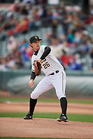Salt Lake Bees starting pitcher Alex Klonowski (26) delivers a pitch to the plate against the Albuquerque Isotopes at Smith's Ballpark on April 8, 2018 in Salt Lake City, Utah. Albuquerque defeated Salt Lake 11-4. (Stephen Smith/Four Seam Images)