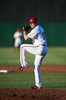 Auburn Doubledays relief pitcher Aaron Barrett (30) delivers a pitch during a game against the Batavia Muckdogs on June 15, 2018 at Falcon Park in Auburn, New York.  Barrett was pulled from the game due to injury;  he has not pitched since 2015 after undergoing Tommy John surgery and fracturing his elbow in 2016.  Auburn defeated Batavia 5-1.  (Mike Janes/Four Seam Images)