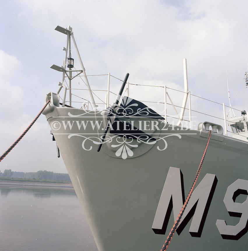 Juli 1985. Mijnenjager Aster M915 van de Belgische Marine bij scheepswerf Mercantile-Belyard in Rupelmonde.
