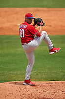 Philadelphia Phillies pitcher Rafael Marcano (60) during a Minor League Spring Training game against the Detroit Tigers on April 17, 2021 at TigerTown in Lakeland, Florida.  (Mike Janes/Four Seam Images)