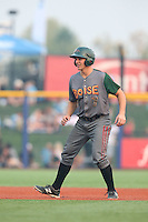 Kevin Padlo (7) of the Boise Hawks leads off of second base during a game against the Hillsboro Hops at Ron Tonkin Field on August 22, 2015 in Hillsboro, Oregon. Boise defeated Hillsboro, 6-4. (Larry Goren/Four Seam Images)