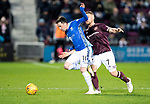Hearts v St Johnstone…26.01.19…   Tynecastle    SPFL<br />Danny Swanson is fouled by Ollie Bozanic<br />Picture by Graeme Hart. <br />Copyright Perthshire Picture Agency<br />Tel: 01738 623350  Mobile: 07990 594431