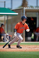 GCL Astros Colin Barber (15) bats during a Gulf Coast League game against the GCL Marlins on August 8, 2019 at the Roger Dean Chevrolet Stadium Complex in Jupiter, Florida.  GCL Astros defeated GCL Marlins 4-2.  (Mike Janes/Four Seam Images)
