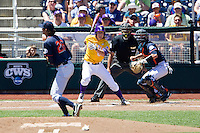 LSU Tigers outfielder Andrew Stevenson (6) follows through on his swing during the NCAA College World Series against the Cal State Fullerton on June 16, 2015 at TD Ameritrade Park in Omaha, Nebraska. LSU defeated Fullerton 5-3. (Andrew Woolley/Four Seam Images)
