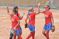 CALI -COLOMBIA- 28-12-2012.  El equipo colombiano de softball femenino perdió 0 a 3 a su rival Venezuela en los Juegos Mundiales Cali 2013./ Colombian women softball team lost a match against Venezuela by score of 0 to 3 in the World Games Cali 2013 at Cali city.  Photo: VizzorImage/STR