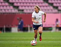 KASHIMA, JAPAN - AUGUST 2: Lindsey Horan #9 of the United States goes forward during a game between Canada and USWNT at Kashima Soccer Stadium on August 2, 2021 in Kashima, Japan.