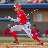 3 March 2016: Washington Nationals outfielder Matt den Dekker in action during a Spring Training pre-season game against the New York Mets at Space Coast Stadium in Viera, Florida. The Nationals defeated the Mets 9-4 in Grapefruit League play. Mandatory Credit: Ed Wolfstein Photo *** RAW (NEF) Image File Available ***