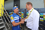 Julian Alaphilippe (FRA) Deceuninck-Quick Step, with Tour Director Christian Prudhomme, after winning Stage 3 atop Cote de Mutigny and takes the Yellow Jersey of the 2019 Tour de France running 215km from Binche, Belgium to Epernay, France. 8th July 2019.<br /> Picture: ASO/Olivier Chabe | Cyclefile<br /> All photos usage must carry mandatory copyright credit (© Cyclefile | ASO/Olivier Chabe)