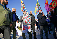 Pictured: Kurdish protesters with banners portraying him as Adolf Hitler and Nazi signs, gather at Syntagma Square in Athens Greece. <br /> Re: Kurdish people with protest against the Turkey president  Recep Tayyip Erdogan's visit to Greece. Thursday 07 December 2017