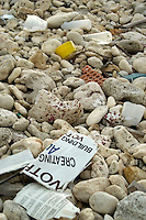 Garbage on the shoreline of Cayman Brac Cayman Islands