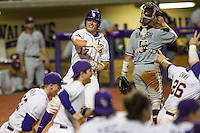 LSU Tigers second baseman Jared Foster (17) celebrates scoring the winning run in the bottom of the ninth inning of Southeastern Conference baseball game against the Texas A&M Aggies on April 23, 2015 at Alex Box Stadium in Baton Rouge, Louisiana. LSU defeated Texas A&M 4-3. (Andrew Woolley/Four Seam Images)