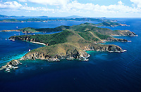 """Aerial view of Norman Island home of the popular attraction """"The Caves"""" and rumored to be the site of Robert Louis Stevenson's Treasure Island<br /> British Virgin Islands"""