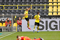 16th May 2020, Signal Iduna Park, Dortmund, Germany; Bundesliga football, Borussia Dortmund versus FC Schalke; BVB's Erling Haland celebrates his goal with Achraf Hakimi