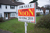 Noon estate agent flat for sale sign, Epsom, Surrey.