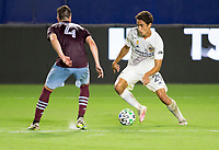 CARSON, CA - SEPTEMBER 19: Ethan Zubak #29  of the Los Angeles Galaxy moves with the ball during a game between Colorado Rapids and Los Angeles Galaxy at Dignity Heath Sports Park on September 19, 2020 in Carson, California.