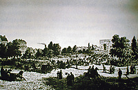 A painting of the Avenue l'Imperatrice, 1862. Now named Avenue Foch. Paris France.