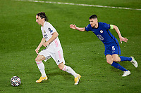 April 27th 2021; Alfredo Di Stefano Stadium, Madrid, Spain;  UEFA Champions League. Jorge Luiz Frello Jorginho of Chelsea FC beten by the turn from Luka Modric of Real Madrid during the Champions League match, semifinals between Real Madrid and Chelsea FC played at Alfredo Di Stefano Stadium