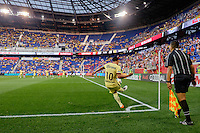 Harrison, NJ - Wednesday July 06, 2016: Osvaldo Martinez during a friendly match between the New York Red Bulls and Club America at Red Bull Arena.