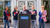 ORLANDO, FL - FEBRUARY 28: Orlando Mayor Buddy Dyer speaks during a SheBelieves press conference with Ali Krieger #11 and Ashlyn Harris #18 of the United States at City Hall on February 28, 2020 in Orlando, Florida.