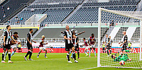 A header from Aston Villa's Ahmed Elmohamady goes under the body of Newcastle United's Martin Dubravka to make the score 1-1<br /> <br /> Photographer Alex Dodd/CameraSport<br /> <br /> The Premier League - Newcastle United v Aston Villa - Wednesday 24th June 2020 - St James' Park - Newcastle <br /> <br /> World Copyright © 2020 CameraSport. All rights reserved. 43 Linden Ave. Countesthorpe. Leicester. England. LE8 5PG - Tel: +44 (0) 116 277 4147 - admin@camerasport.com - www.camerasport.com