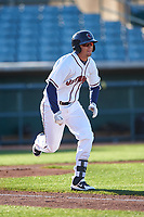 Lancaster JetHawks third baseman Matt McLaughlin (6) hustles down the first base line during a California League game against the Lake Elsinore Storm on April 10, 2019 at The Hangar in Lancaster, California. Lake Elsinore defeated Lancaster 10-0 in the first game of a doubleheader. (Zachary Lucy/Four Seam Images)