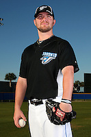 March 1, 2010:  Pitcher Kyle Drabek (4) of the Toronto Blue Jays poses for a photo during media day at Englebert Complex in Dunedin, FL.  Photo By Mike Janes/Four Seam Images