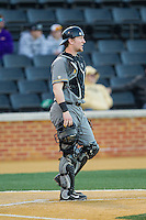 Missouri Tigers catcher Dylan Kelly (55) on defense against the Wake Forest Demon Deacons at Wake Forest Baseball Park on February 22, 2014 in Winston-Salem, North Carolina.  The Demon Deacons defeated the Tigers 1-0.  (Brian Westerholt/Four Seam Images)