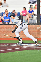 Pulaski Yankees third baseman Nelson Gomez (14) runs to first base during a game against the Johnson City Cardinals at TVA Credit Union Ballpark on July 7, 2018 in Johnson City, Tennessee. The Cardinals defeated the Yankees 7-3. (Tony Farlow/Four Seam Images)