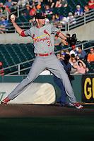 Memphis Redbirds Deck McGuire (31) throws during the Pacific Coast League game against the Iowa Cubs at Principal Park on June 6, 2016 in Des Moines, Iowa.  Memphis won 6-2.  (Dennis Hubbard/Four Seam Images)