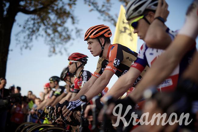 a focused Wout Van Aert (BEL/Vastgoedservice-Golden Palace) on the start line<br /> <br /> Elite Men's race<br /> Koppenbergcross 2015