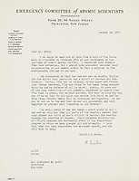 BNPS.co.uk (01202 558833)<br /> Pic: Bonhams/BNPS<br /> <br /> A powerful set of letters from Albert Einstein pleading for the atomic bomb never to be used again after the devastation it unleashed in Japan has emerged for sale for £12,000.<br /> <br /> The legendary mathematician watched on in horror as the deadly bombs were dropped on Hiroshima and Nagasaki in August 1945, causing hundreds of thousands of deaths.<br /> <br /> After World War Two ended, he helped set up the Emergency Committee of Atomic Scientists to oppose their future deployment.<br /> <br /> In the letters, which sought to raise funds for their campaign, he describes the atomic bomb as 'the most revolutioanry force since the discovery of fire'. He adds that they must be scrapped 'to prevent future tragedies taking place'.<br /> <br /> The letters were sent from Einstein to American businessman Cleveland E. Dodge, one of the campaign's supporters, in late 1946 and early 1947. They have been consigned for sale from the Dodge family archive with auction house Bonhams New York.