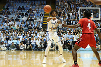 CHAPEL HILL, NC - NOVEMBER 01: Rechon Leaky Black #1 of the University of North Carolina passes the ball during a game between Winston-Salem State University and University of North Carolina at Dean E. Smith Center on November 01, 2019 in Chapel Hill, North Carolina.