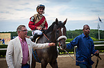 July 6, 2019: Preservationist, ridden by Junior Alvarado, wins the 2019 running of the G2 Suburban Stakes at Belmont Park in Elmont, NY. Sophie Shore/ESW/CSM
