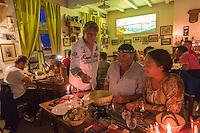 France, Nord (59),Côte d'Opale, Zuydcoote:  Estaminet: Joyeux Retour des Pêcheurs - Service de la fondue au Maroilles  //  France, Nord, Opal Coast, Zuydcoote: Tavern - Estaminet: Joyeux Retour des Pêcheurs : Service fondue Maroilles
