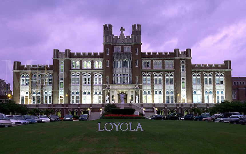 The exterior of Loyola University at dusk. New Orleans, Louisiana.