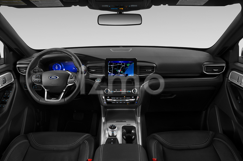 Stock photo of straight dashboard view of 2020 Ford Explorer ST 5 Door SUV Dashboard