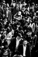 Crowds leave the Nanjing Railway Station in Nanjing, Jiangsu, China.