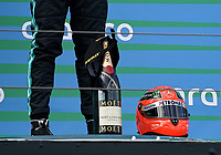 11th October 2020, Nuerburgring, Nuerburg, Germany; FIA Formula 1 Eifel Grand Prix, Race Day;  Mick Schumacher GER, Alfa Romeo Racing ORLEN presents 44 Lewis Hamilton GBR, Mercedes-AMG Petronas Formula One Team with one of his fathers racing helmets for the win