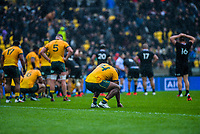 Australia's Filipo Daugunu crouches down after the final whistle of the Bledisloe Cup rugby union match between the New Zealand All Blacks and Australia Wallabies at Sky Stadium in Wellington, New Zealand on Sunday, 11 October 2020. Photo: Dave Lintott / lintottphoto.co.nz