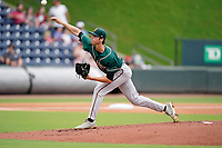 Starting pitcher Grant Ford (41) of the Greensboro Grasshoppers in a game against the Greenville Drive on Tuesday, July 20, 2021, at Fluor Field at the West End in Greenville, South Carolina. (Tom Priddy/Four Seam Images)