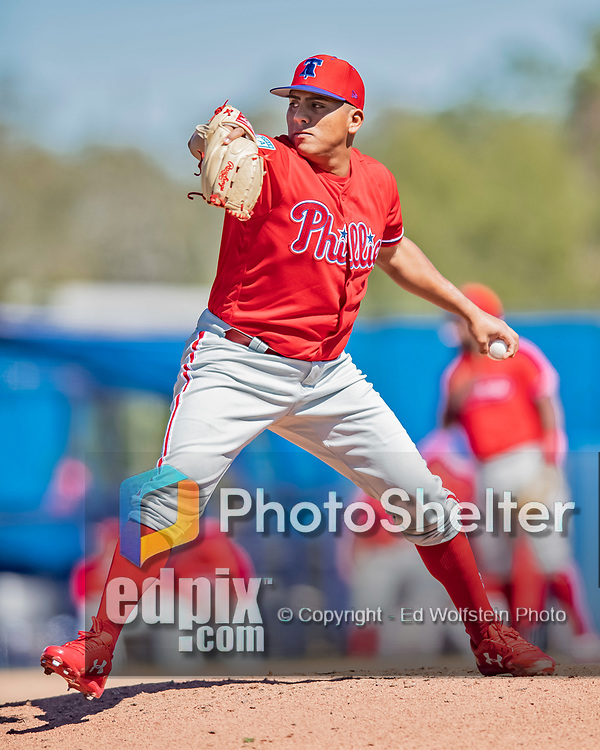 6 March 2019: Philadelphia Phillies top prospect pitcher Ranger Suarez on the mound during a Spring Training game against the Toronto Blue Jays at Dunedin Stadium in Dunedin, Florida. The Blue Jays defeated the Phillies 9-7 in Grapefruit League play. Mandatory Credit: Ed Wolfstein Photo *** RAW (NEF) Image File Available ***