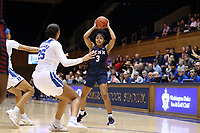 DURHAM, NC - NOVEMBER 29: Michae Jones #3 of the University of Pennsylvania looks for an open teammate during a game between Penn and Duke at Cameron Indoor Stadium on November 29, 2019 in Durham, North Carolina.
