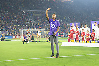 Orlando, FL - Wednesday July 31, 2019:  Renée Elise Goldsberry sings the national anthem during the Major League Soccer (MLS) All-Star match between the MLS All-Stars and Atletico Madrid at Exploria Stadium.