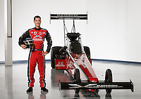 Dec. 3, 2013; Brownsburg, IN, USA; NHRA top fuel dragster driver Spencer Massey poses for a portrait at Don Schumacher Racing.