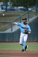 Jeremiah Jackson (11) of the Inland Empire 66ers throws during a game against the Fresno Grizzlies at San Manuel Stadium on May 25, 2021 in San Bernardino, California. (Larry Goren/Four Seam Images)