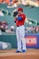 Buffalo Bisons starting pitcher Ryan Borucki (54) looks in for the sign during a game against the Scranton/Wilkes-Barre RailRiders on May 18, 2018 at Coca-Cola Field in Buffalo, New York.  Buffalo defeated Scranton/Wilkes-Barre 5-1.  (Mike Janes/Four Seam Images)