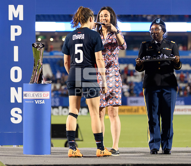 FRISCO, TX - MARCH 11: Kelley O'Hara #5 of the United States receives her medal during a game between Japan and USWNT at Toyota Stadium on March 11, 2020 in Frisco, Texas.