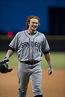 AZL Padres 1 designated hitter Nick Gatewood (33) walks off the field between innings of an Arizona League game against the AZL Padres 2 at Peoria Sports Complex on July 14, 2018 in Peoria, Arizona. The AZL Padres 1 defeated the AZL Padres 2 4-0. (Zachary Lucy/Four Seam Images)