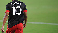 WASHINGTON, DC - AUGUST 25: Edison Flores #10 of D.C. United during a game between New England Revolution and D.C. United at Audi Field on August 25, 2020 in Washington, DC.
